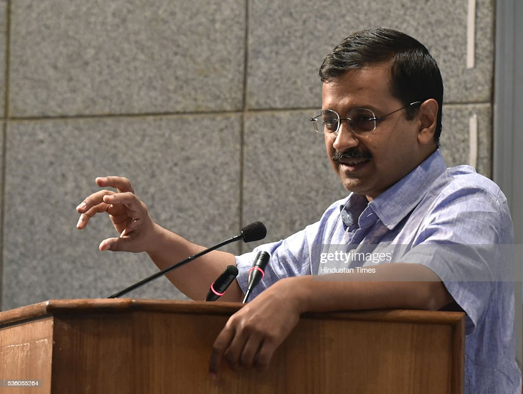 Delhi Chief Minister Arvind Kejriwal at the launch of DVAT MSeva on May 31, 2016 in New Delhi, India. Mobile application DVATMsewa provide various services to traders like Registration formalities under DVAT & CST may be completed in just One Day.