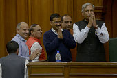 Delhi Chief Minister Arvind Kejriwal Deputy Chief Minister Manish Sisodiya and Speaker during Oath taking ceremony of Delhi cabinet Minsters in...
