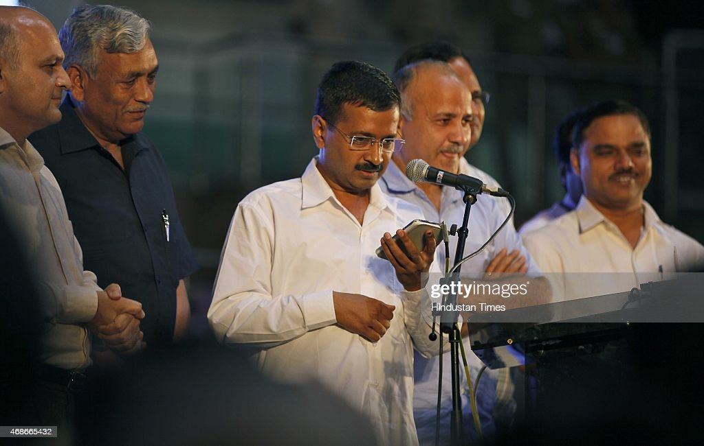 Delhi Chief Minister Arvind Kejriwal Deputy CM Manish Sisodia along with other Delhi Ministers during the ReLaunch of AntiCorruption Helpline 1031 at...