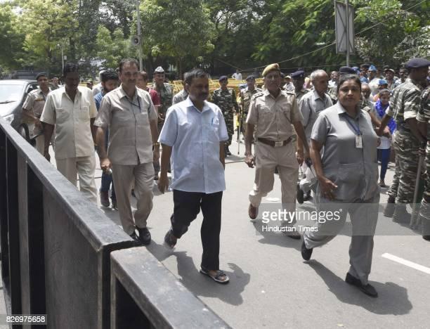 Delhi Chief Minister Arvind Kejriwal during a Kirayedar Swabhimaan Bacho Mahasabha to press their various demands at Parliament Street on August 6...