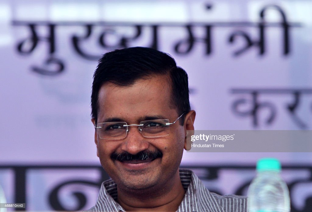 Delhi Chief Minister <a gi-track='captionPersonalityLinkClicked' href=/galleries/search?phrase=Arvind+Kejriwal&family=editorial&specificpeople=5980396 ng-click='$event.stopPropagation()'>Arvind Kejriwal</a> during launch of Mission Indradhanush - an immunisation programme, at Majnu-ka-tilla on April 7, 2015 in New Delhi, India.