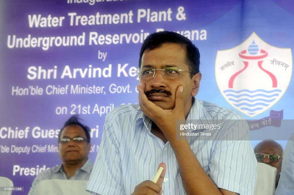 Delhi Chief Minister <a gi-track='captionPersonalityLinkClicked' href=/galleries/search?phrase=Arvind+Kejriwal&family=editorial&specificpeople=5980396 ng-click='$event.stopPropagation()'>Arvind Kejriwal</a> during the inauguration of the Bawana water treatment plant with a capacity of 20 million gallons daily (MGD), the plant is expected to boost the capital's water supply, on April 21, 2015 in New Delhi, India.