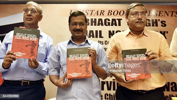 Delhi Chief Minister Arvind Kejriwal during the release of Unistar book 'Bhagat Singh's Jail Note Book Its Context and Relevance' complete notebook...