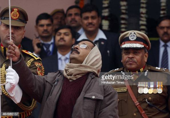 Delhi Chief Minister Arvind Kejriwal during the state level Republic Day function at Chhatrasal Stadium on January 25 2014 in New Delhi India...