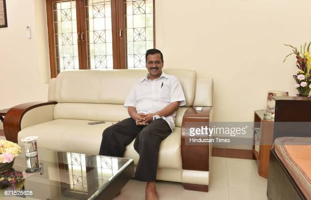 Delhi Chief Minister Arvind Kejriwal in relax mood during an exclusive interview with Hindustan Times at his official residence on the eve of MCD...