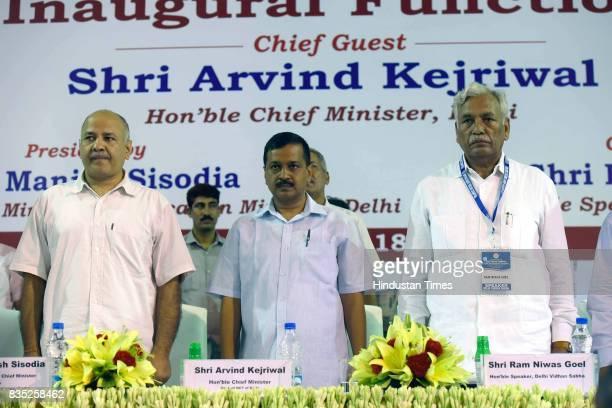 Delhi Chief Minister Arvind Kejriwal inaugurates the East Delhi Campus of Delhi Technological University at Vivek Vihar Phase II on August 18 2017 in...