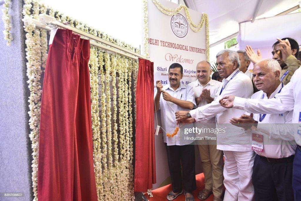 Delhi Chief Minister Arvind Kejriwal inaugurates the East Delhi Campus of Delhi Technological University at Vivek Vihar, Phase II, on August 18, 2017 in New Delhi, India.