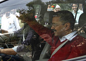 Delhi Chief Minister Arvind Kejriwal leaves after meeting with people in 'Janta Darbar' at party's Kaushambi office on February 18 2015 in Ghaziabad...