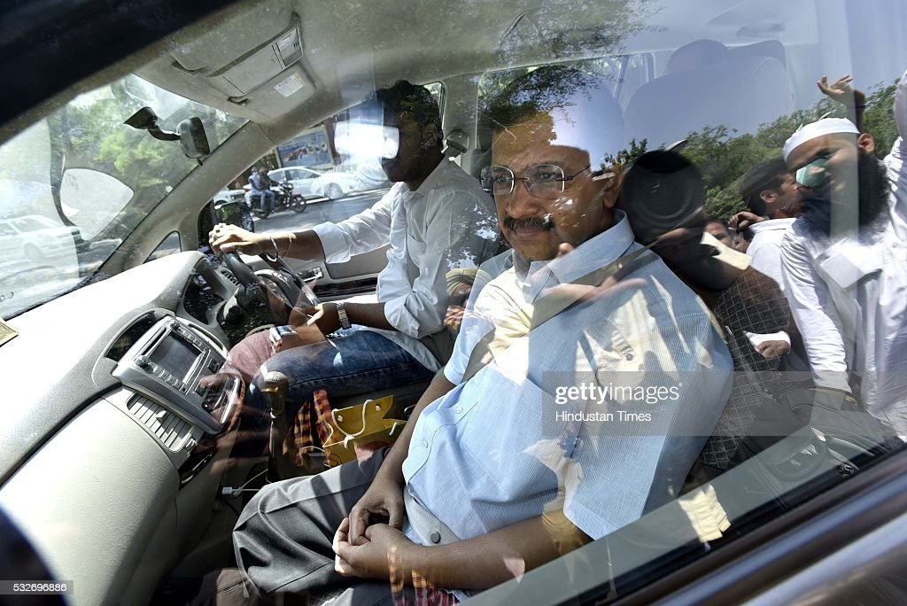 Delhi Chief Minister Arvind Kejriwal leaves from Patiala House Court after a hearing of the defamation case filed by Finance Minister Arun Jaitley...