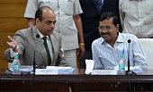 Delhi Chief Minister Arvind Kejriwal taking charge at NDMC in New Delhi