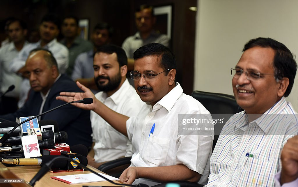 Delhi Chief Minister Arvind Kejriwal with Cabinet minister for the vice-chairman of Delhi Dialogue Commission Ashish Khetan and Delhi Health and Industry minister Satyendra Jain address a Press conference on the issue of creating Job and Industry in the capital at Delhi secretariat on May 6, 2016 in New Delhi, India.