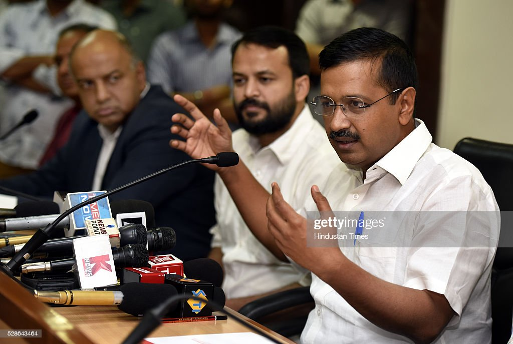 Delhi Chief Minister Arvind Kejriwal with Cabinet minister for the vice-chairman of Delhi Dialogue Commission Ashish Khetan, address a Press conference on the issue of creating Job and Industry in the capital at Delhi secretariat on May 6, 2016 in New Delhi, India.