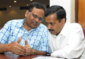 Delhi Chief Minister Arvind Kejriwal with Delhi Health Minister Satyendra Jain before their meeting with Urban Development Minister M Venkaiah Naidu...