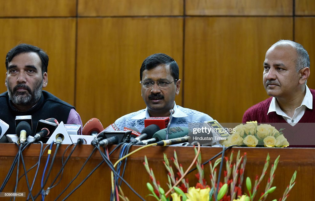 Delhi Chief Minister Arvind Kejriwal with Deputy Chief Minister Manish Sisodia and Transport Minister Gopal Rai addressing the press conference to announce the commencement date of Second Phase of Odd Even Scheme at Vidhan Shabha on February 11, 2016 in New Delhi, India. The second phase of the odd-even road rationing scheme to reduce the Capitals notorious air pollution and traffic snarls will be conducted for a fortnight from April 15.