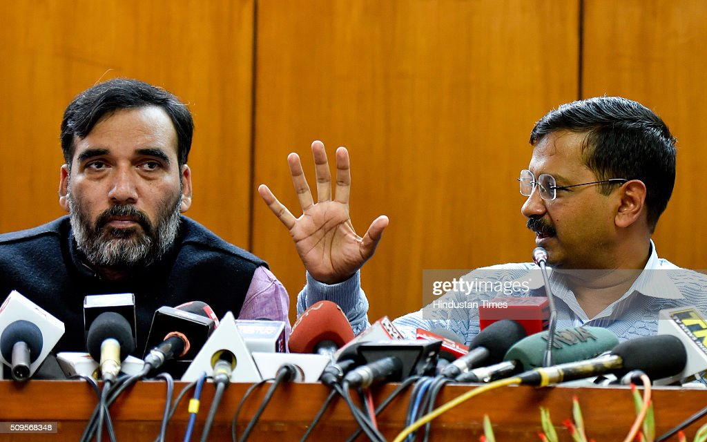 Delhi Chief Minister Arvind Kejriwal with Transport Minister Gopal Rai addressing the press conference to announce the commencement date of Second Phase of Odd Even Scheme at Vidhan Shabha on February 11, 2016 in New Delhi, India. The second phase of the odd-even road rationing scheme to reduce the Capitals notorious air pollution and traffic snarls will be conducted for a fortnight from April 15.