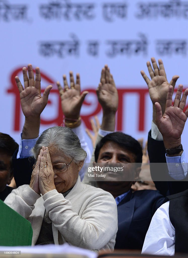 Delhi Chief Minister Sheila Dikshit at a public meeting on unauthorised colonies at Talkatora Stadium on Saturday.
