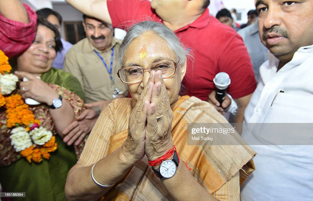 Delhi chief minister Sheila Dikshit celebrates her 76th birthday at her residence in New Delhi on Sunday.