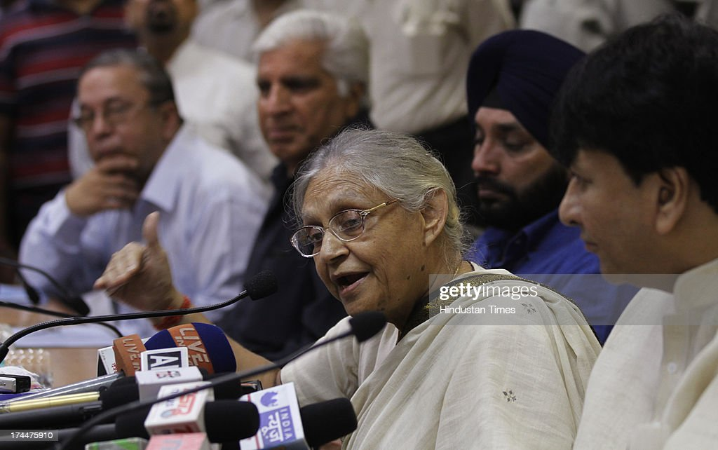 Delhi Chief Minister Sheila Dikshit formally announcing Food Security Scheme on July 26, 2013 in New Delhi, India. Food Security Scheme would benefit 5.10 lakh poor families in its first phase of implementation. The beneficiaries will get wheat at Rs.2 per kg, rice at Rs.3 per kg and coarse grain at Re 1 per kg. The scheme will be launched on August 20 and people will start getting entitled food grains from September 1. The scheme is considered a game-changer for the Congress-led United Progressive Alliance-II.