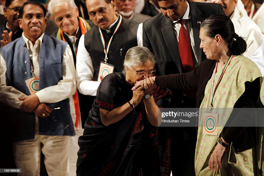 Delhi Chief Minister Sheila Dikshit greets Congress President Sonia Gandhi after the speech of Congress Vice President Rahul Gandhi during the AICC meeting after the two days 'Chintan Shivir' at Birla Auditorium, Jaipur on January 20, 2013 in Rajasthan, India.