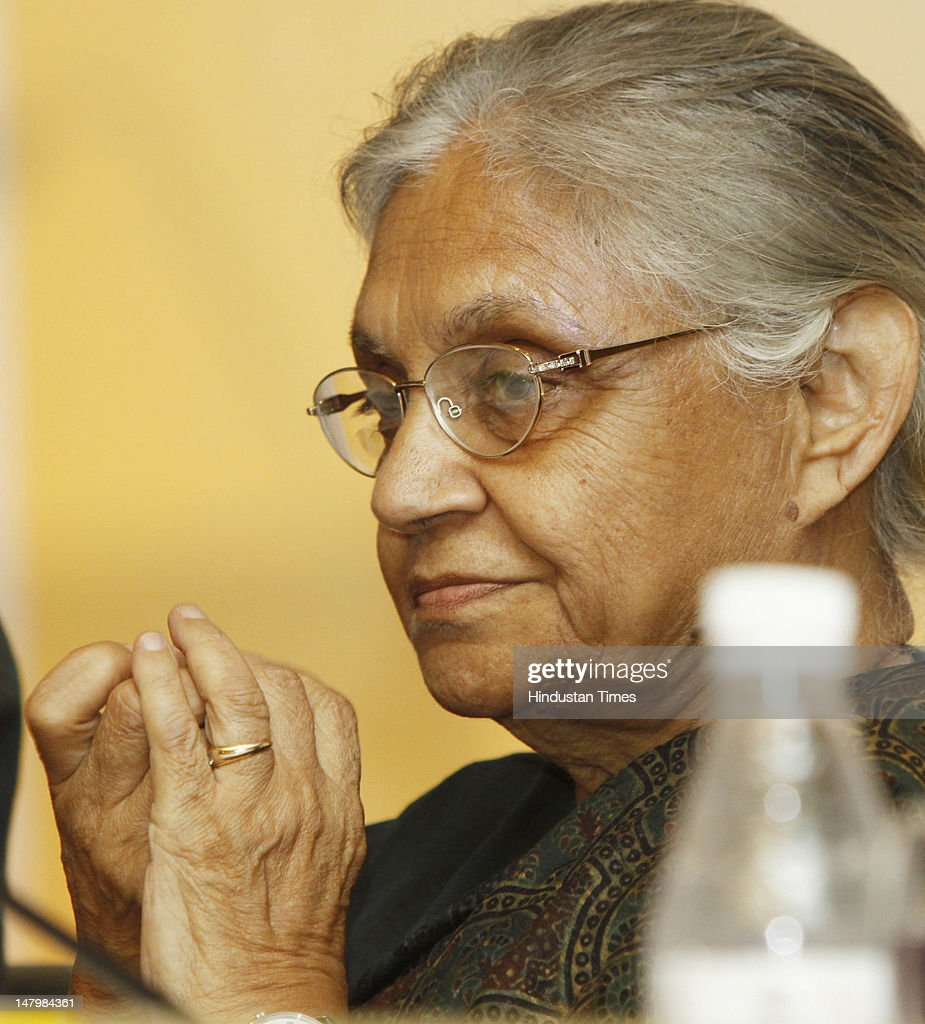 Delhi Chief Minister <a gi-track='captionPersonalityLinkClicked' href=/galleries/search?phrase=Sheila+Dikshit&family=editorial&specificpeople=728110 ng-click='$event.stopPropagation()'>Sheila Dikshit</a> looks on during the 14th World Congress on Environment Management on July 7, 2012 in New Delhi, India.