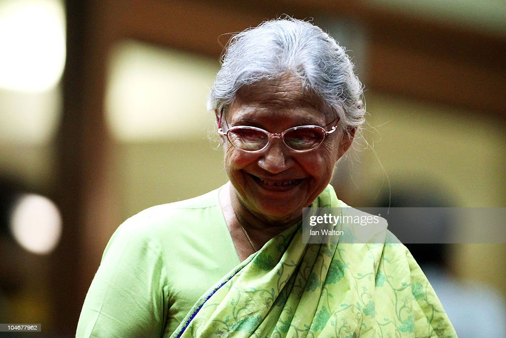 Delhi Chief Minister <a gi-track='captionPersonalityLinkClicked' href=/galleries/search?phrase=Sheila+Dikshit&family=editorial&specificpeople=728110 ng-click='$event.stopPropagation()'>Sheila Dikshit</a> looks on during the Opening Ceremony for the Delhi 2010 Commonwealth Games at Jawaharlal Nehru Stadium on October 3, 2010 in Delhi, India.