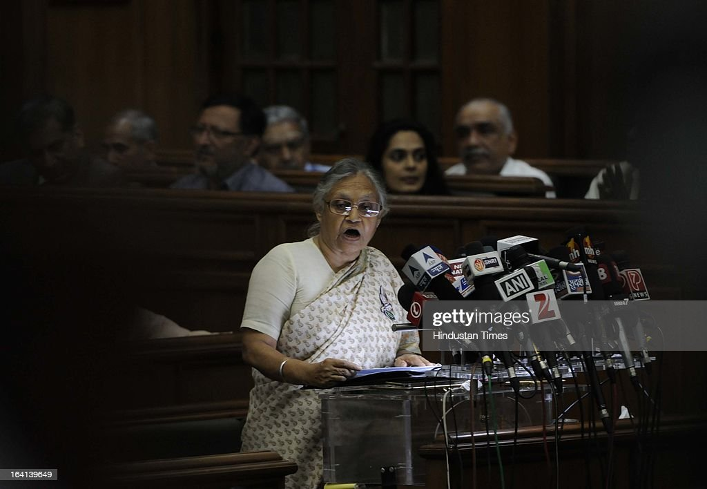 Delhi Chief Minister Sheila Dikshit presenting the Budget for the year 2013-14 at Old Secretariat on March 20, 2013 in New Delhi, India. Presenting the 15th consecutive budget of her government, Delhi CM Sheila Dikshit focused on on social sector projects in an election year. Out of Rs 16,000 crore earmarked as plan outlay, Rs 10,351 cr was allocated for social sector schemes.