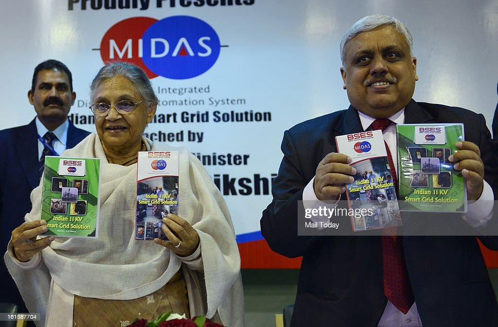 Delhi Chief Minister Sheila Dikshit unveiling a BYPL booklet on smart grid solutions at Delhi Secretariat in New Delhi on Monday.