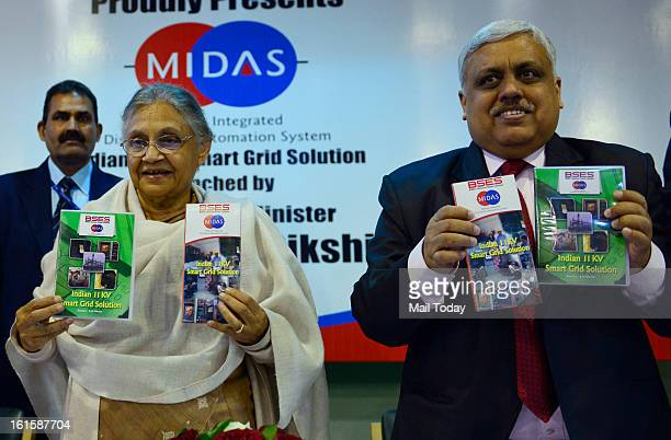 Delhi Chief Minister Sheila Dikshit unveiling a BYPL booklet on smart grid solutions at Delhi Secretariat in New Delhi on Monday