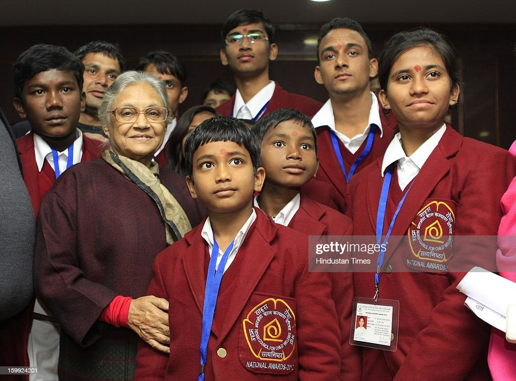 Delhi Chief Minister Shiela Dikshit met National Bravery Award Winner Children at her office on January 23, 2013 in New Delhi, India. 22 children including 4 girls were selected for National Bravery Awards this year.
