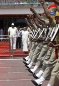 'NEW DELHI INDIA AUGUST 15 Delhi Chief Minister Shiela Dikshit on 66th Independence Day celebrations at Chhattrasal Stadiun on August 15 2012 in New...