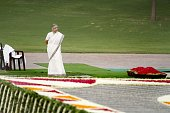 Delhi Chief Minister Shiela Dikshit pays tribute to the first Prime Minister late Pt Jawaharlal Nehru on his 49th death anniversary at Shanti Van on...