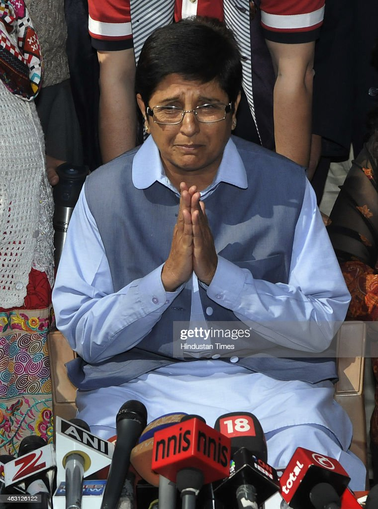 BJP Delhi Chief Ministerial candidate <a gi-track='captionPersonalityLinkClicked' href=/galleries/search?phrase=Kiran+Bedi&family=editorial&specificpeople=2886102 ng-click='$event.stopPropagation()'>Kiran Bedi</a> addressing the media personnel after losing Krishana Nagar assembly seat from at her Uday Park residence on February 10, 2015 in New Delhi, India. Prime Minister Narendra Modis party BJP suffers its first major election defeat since coming to power last May as anti-corruption campaigner Arvind Kejriwal wins a landslide victory in Delhi state polls. AAP won in 67 seats while BJP managed to win only in 3 seats.