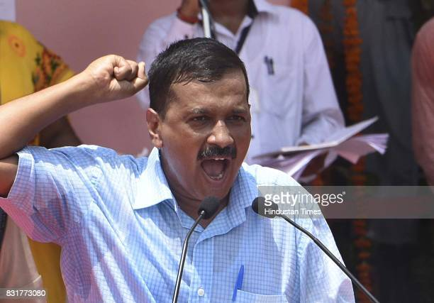 Delhi CM Arvind Kejriwal addresses the gathering on the occasion of 71st Independence Day celebrations at Chhatrasal Stadium on August 15 2017 in New...