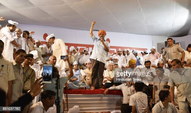 Delhi CM Arvind Kejriwal at the Mahapanchayat Rally for upcoming Bawana Assembly bypoll on August 13 2017 in New Delhi India