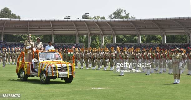 Delhi CM Arvind Kejriwal inspects the guard of honour on the occasion of 71st Independence Day celebrations at Chhatrasal Stadium on August 15 2017...
