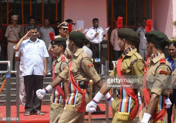 Delhi CM Arvind Kejriwal salutes on the occasion of 71st Independence Day celebrations at Chhatrasal Stadium on August 15 2017 in New Delhi India...