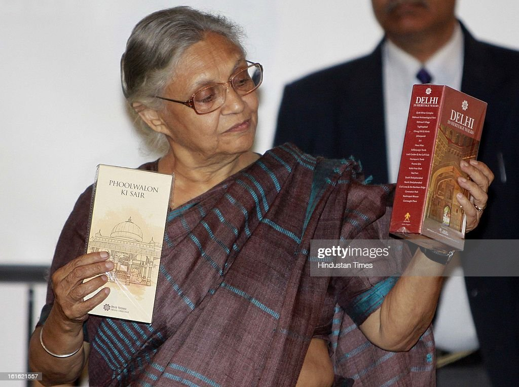 Delhi CM Sheila Dikshit Release Heritage Walk Guides and Tourist Literature at Delhi Secretariat on February 13, 2013 in New Delhi, India. The book on heritage walks has details about the historic and heritage places from a particular area and also a detailed map on the stops in the heritage walk.