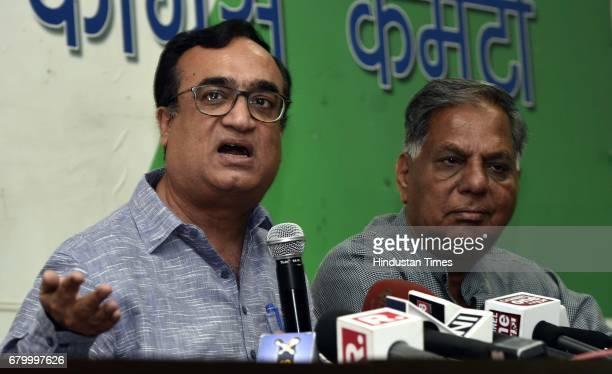 Delhi Congress leader Ajay Maken during a press conference on Arvind Kejriwal's issue after Kapil Mishra levelled stunning allegations of corruption...