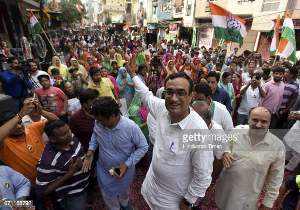 Delhi Congress President Ajay Maken during the public meeting for the last day MCD elections camping at Mandawali area on April 21 2017 in New Delhi...
