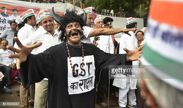 Delhi Congress Trade Union and Congress workers protest against GST Bill at Town Hall in Chandni Chowk on July 31 2017 in New Delhi India