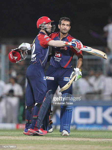Delhi Daredevil players Irfan Pathan and Glenn Maxwell celebrating their victory against Kolkata Knight Riders in Indian Premier League 2012 cricket...