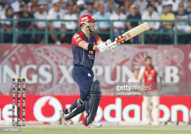 Delhi Daredevils batsman David Warner plays a shot during IPL 5 T20 cricket match played between Delhi Daredevils and Kings XI Punjab at HPCA stadium...