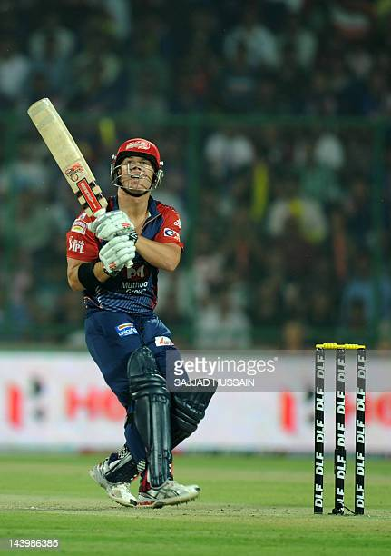 Delhi Daredevils batsman David Warner plays a shot during the IPL Twenty20 cricket match between Delhi Daredevils and Kolkata Knight Riders at the...