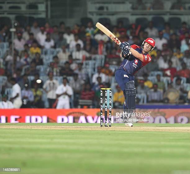 Delhi Daredevils batsman David Warner plays a shot during the IPL Twenty20 cricket 2nd Qualifying match between Chennai Super Kings and Delhi...