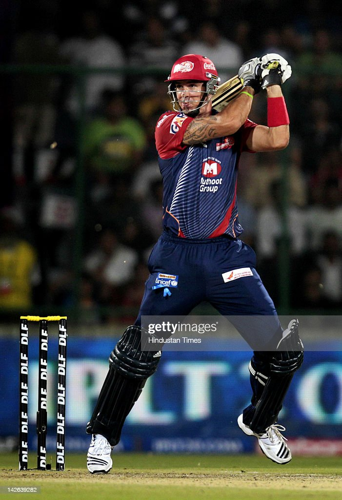 Delhi Daredevils batsman <a gi-track='captionPersonalityLinkClicked' href=/galleries/search?phrase=Kevin+Pietersen+-+Cricket+Player&family=editorial&specificpeople=202001 ng-click='$event.stopPropagation()'>Kevin Pietersen</a> plays a shot during the IPL 5 cricket match between Delhi Daredevils and Chennai Super Kings at Ferozshah Kotla Ground on April 10, 2012 in New Delhi, India. Delhi Daredevils won by 8 wickets.