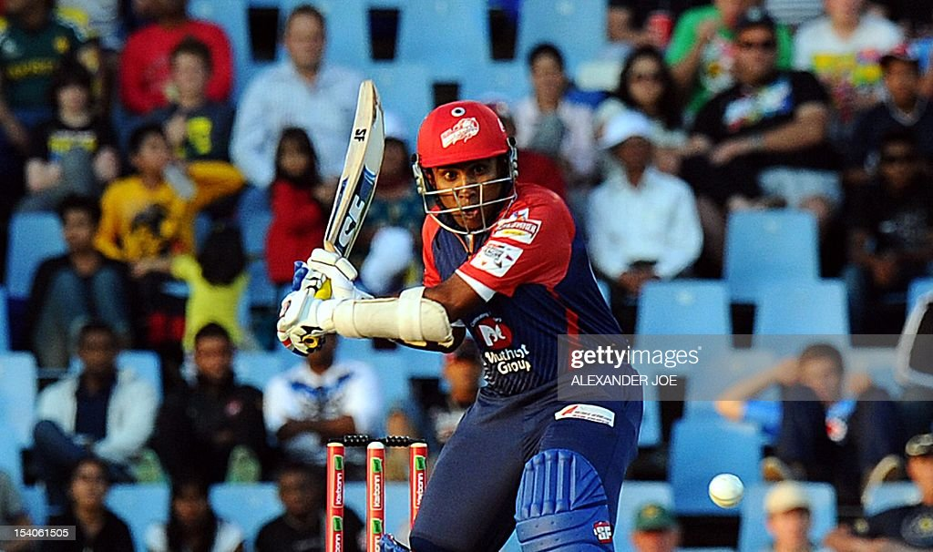 Delhi Daredevils batsman Mahela Jayawrdene plays a shot from Kalkata Knight Riders bowler Brett Lee during a Group A match of the Champions League T20 (CLT20) at Super Sports Park in Centurion on October 13, 2012. Kalkata Knight Riders won the toss and elected to bowl.