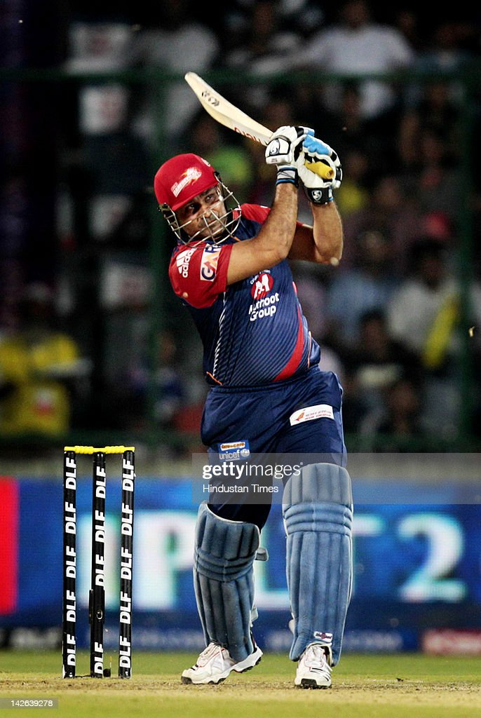 Delhi Daredevils batsman Virendra Sehwag plays a shot during the IPL 5 cricket match between Delhi Daredevils and Chennai Super Kings at Ferozshah Kotla Ground on April 10, 2012 in New Delhi, India. Delhi Daredevils won by 8 wickets.