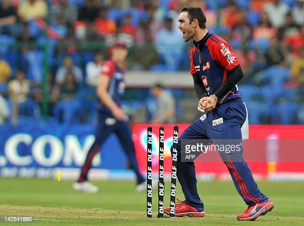 Delhi Daredevils bowler Glenn Maxwell celebrates running out Royal Challengers Bangalore batsman Daniel Vettori during the IPL Twenty20 cricket match...