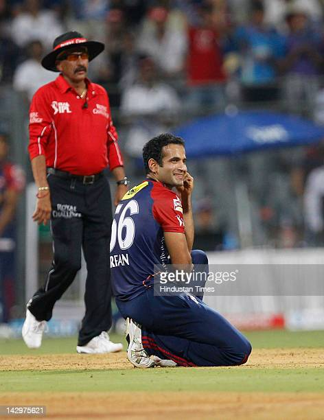 Delhi Daredevils bowler Irfan Pathan in action during the IPL T20 match between Mumbai Indians vs Delhi Daredevils at Wankhede Stadium on April 16...