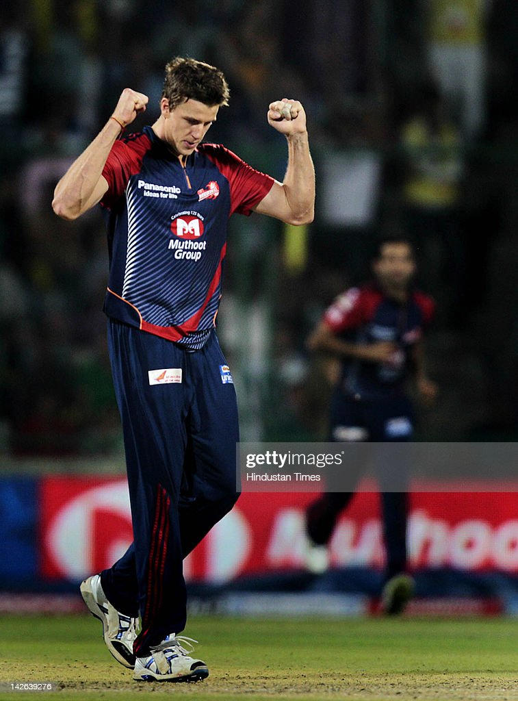 Delhi Daredevils bowler <a gi-track='captionPersonalityLinkClicked' href=/galleries/search?phrase=Morne+Morkel&family=editorial&specificpeople=4064354 ng-click='$event.stopPropagation()'>Morne Morkel</a> celebrates the dismissal of Chennai Super Kings captain M S Dhoni (not pictured) during the IPL 5 cricket match between Delhi Daredevils and Chennai Super Kings at Ferozshah Kotla Ground on April 10, 2012 in New Delhi, India. Batting first after losing the toss Chennai Super Kings posted a target of 111 runs to win for Delhi Daredevils.